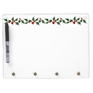 Delicate Holly Border Dry Erase Board With Keychain Holder