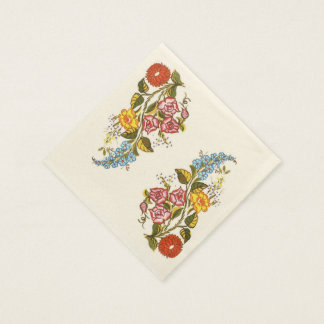 delicate hungarian flowers napkin