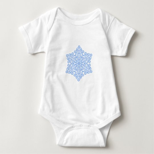 Delicate Icy Blue Winter Christmas Snowflake Baby Bodysuit