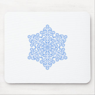 Delicate Icy Blue Winter Christmas Snowflake Mouse Pad