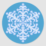 Delicate Icy Blue Winter Christmas Snowflake Classic Round Sticker