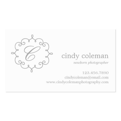 Delicate Initial Business Cards with Logo (back side)
