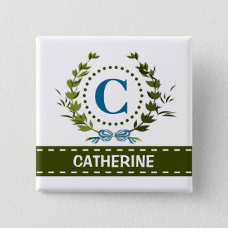 Delicate Ivy Wreath and Bow Name with Monogram C Pinback Button
