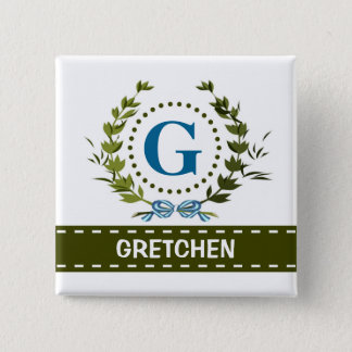 Delicate Ivy Wreath and Bow Name with Monogram G Pinback Button
