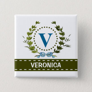 Delicate Ivy Wreath and Bow Name with Monogram V Pinback Button