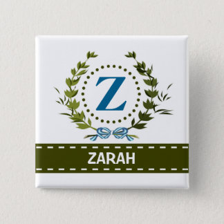 Delicate Ivy Wreath and Bow Name with Monogram Z Pinback Button