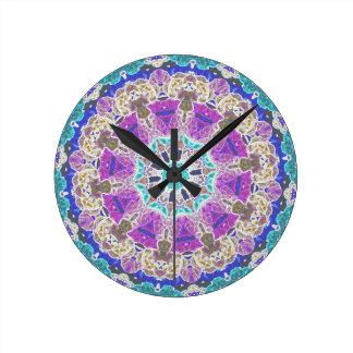 Delicate Kaleidoscope in Purple Round Clock