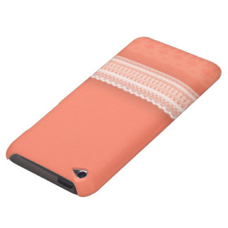 Delicate Lace Against Vibrant Coral Barely There iPod Cover