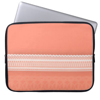 Delicate Lace Against Vibrant Coral Laptop Sleeves