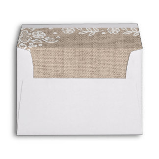 Delicate Lace Burlap Rustic Country Lined Envelope