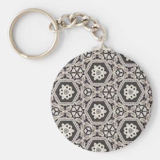 Delicate Lace Fabric Pattern Collection - 10 Basic Round Button Keychain