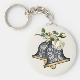Delicate Lace Fabric Pattern Collection Lace - 08 Basic Round Button Keychain