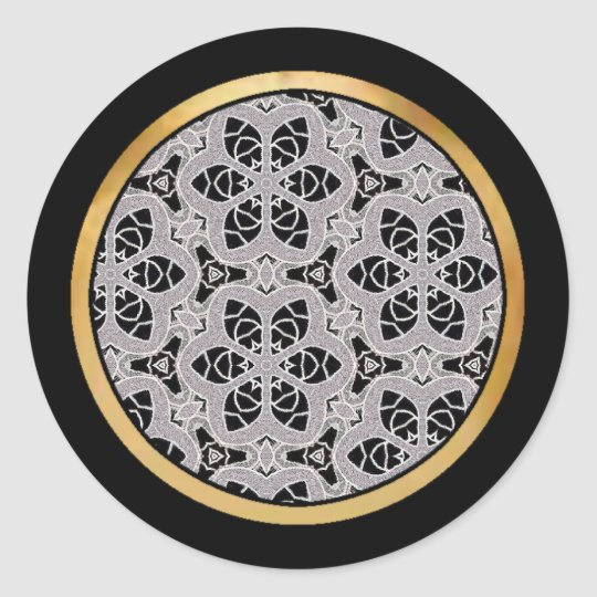 Delicate lace fabric pattern in black & white classic round sticker