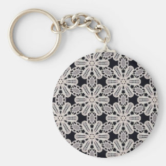 Delicate lace fabric patterns in black & white basic round button keychain