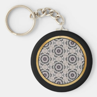 Delicate lace fabric patterns in black & white keychain