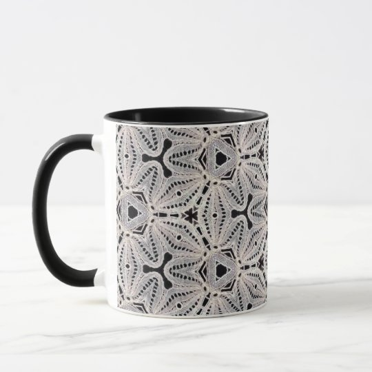 Delicate lace fabric patterns in black & white mug