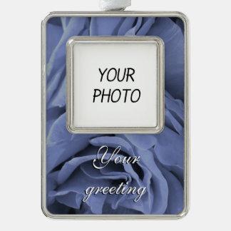 Delicate light blue gray roses flower photo ornament