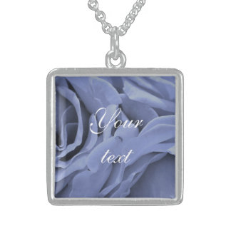 Delicate light blue gray roses flower photo sterling silver necklace