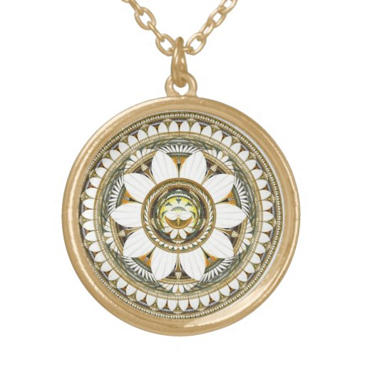 Delicate Lily Flowers Round Pendant Necklace