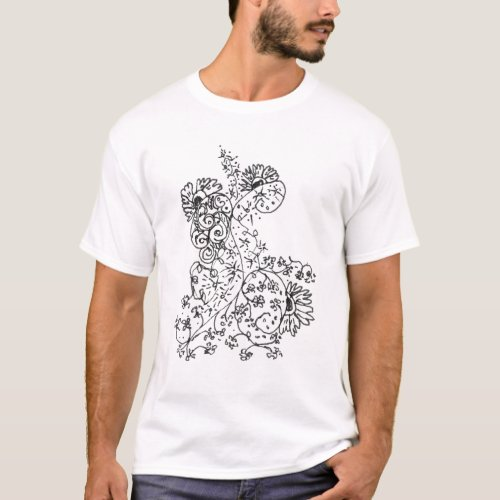 Delicate Line Drawings of Abstract Flower Dance T-Shirt