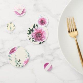 Delicate Mauve Dahlia Floral Table Confetti