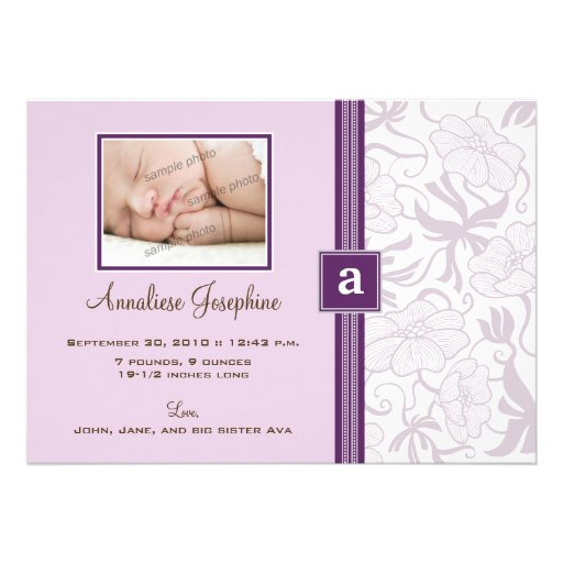 Delicate Monogram Ribbon Baby Announcement (lilac)