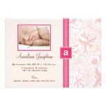 Delicate Monogram Ribbon Baby Announcement (pink)
