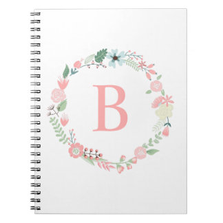 Delicate Monogrammed Floral Wreath Notebook
