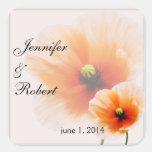 Delicate Orange Poppy Flower Envelope Seal Square Sticker