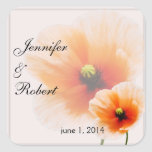Delicate Orange Poppy Flower Envelope Seal Sticker