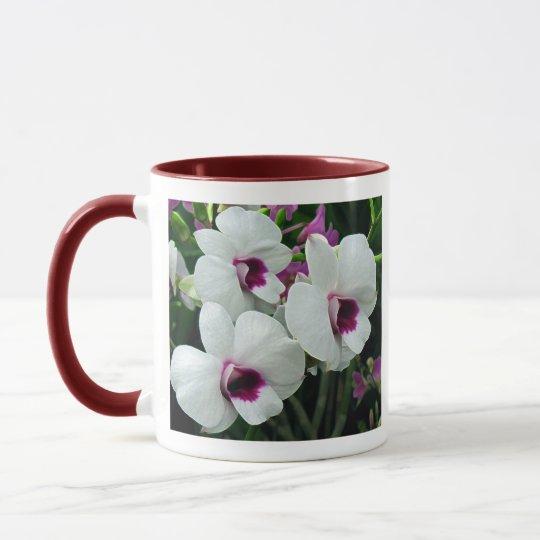 Delicate orchids, white and purple mug
