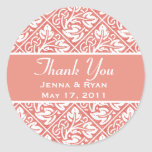 Delicate & Ornate Round Wedding, Thank You Labels Sticker
