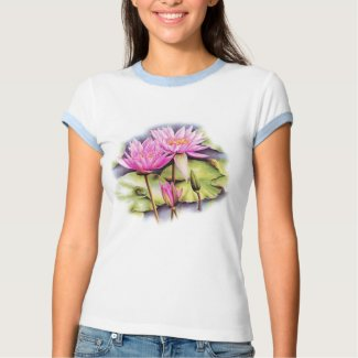 Delicate painted water lily (Lotus) t-shirt shirt