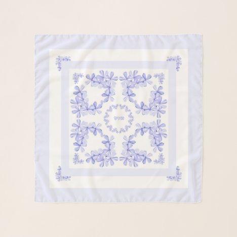 Delicate Pale Lavender Flowers Chiffon Scarf