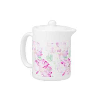 Delicate Pale Pink Watercolour Roses Teapot