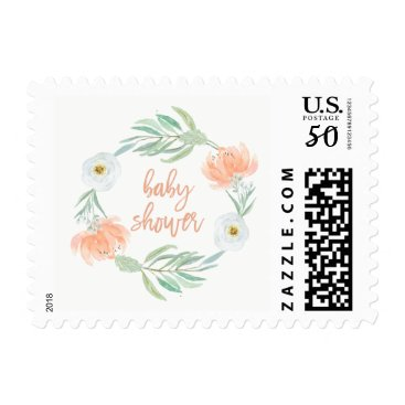 Toddler & Baby themed Delicate Peach Floral and Eucalyptus | Baby Shower Postage