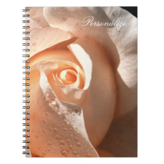 Delicate Peach Rose With Dew Spiral Notebook