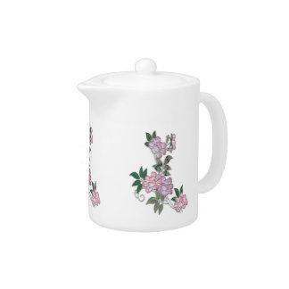 Delicate peonies elegant floral pattern teapot