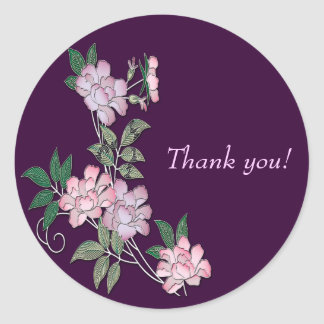 Delicate peonies elegant floral pattern Thank you Classic Round Sticker