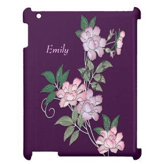 Delicate peonies elegant floral pattern with name iPad cover