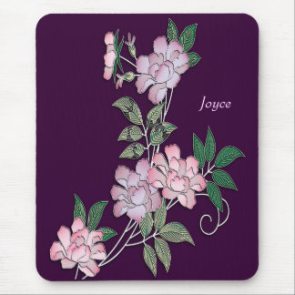 Delicate peonies elegant floral pattern with name mouse pad