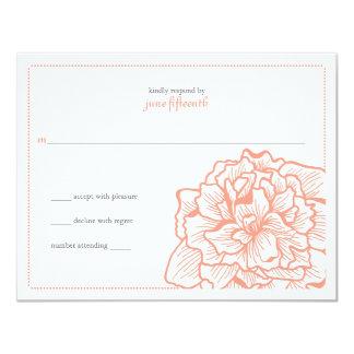 Delicate Peony Wedding Response 4.25x5.5 Paper Invitation Card