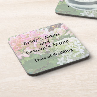 Delicate Pink and White Hydrangea Wedding Products Beverage Coasters