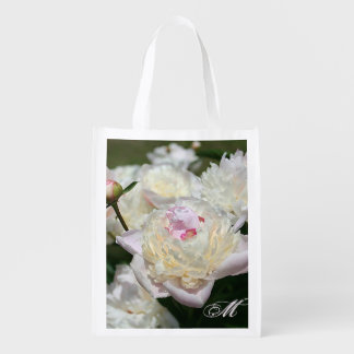 Delicate Pink and White Peony Watercolor Grocery Bags