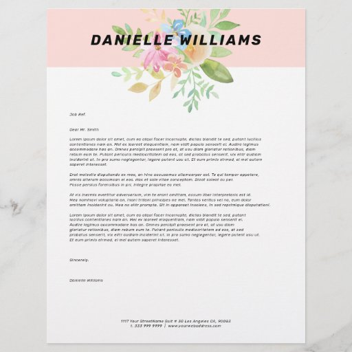Delicate pink and yellow flowers bouquet letterhead