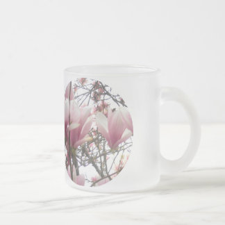 delicate,  pink, blossoms 10 oz frosted glass coffee mug
