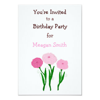 Delicate Pink Chrysanthemums Birthday Invitation