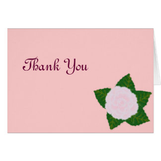Delicate Pink Flower Thank You Note Card