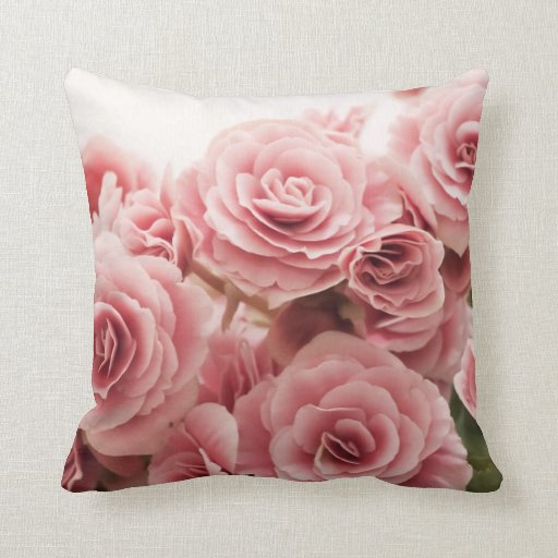 Delicate Pink Flowers Pillow