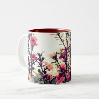 Delicate Pink Flowers Two-Tone Coffee Mug